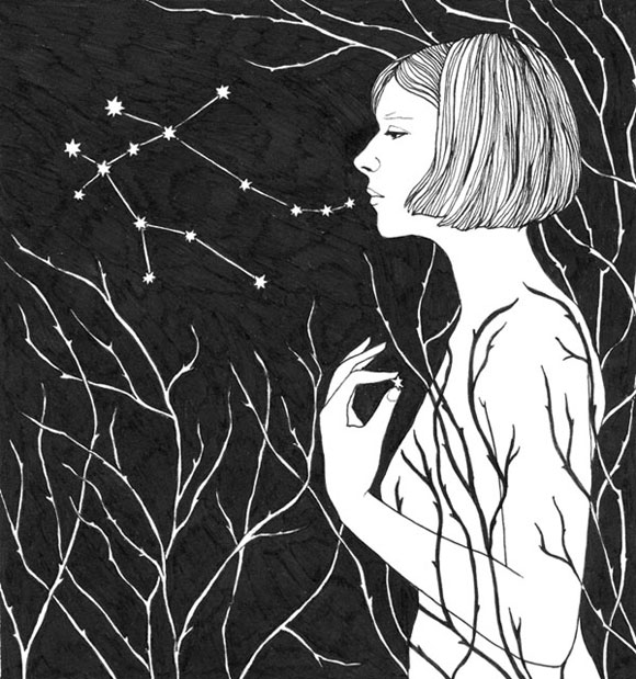 2015, pen and ink. Inspired by Aurora Aksnes and her song Under Stars