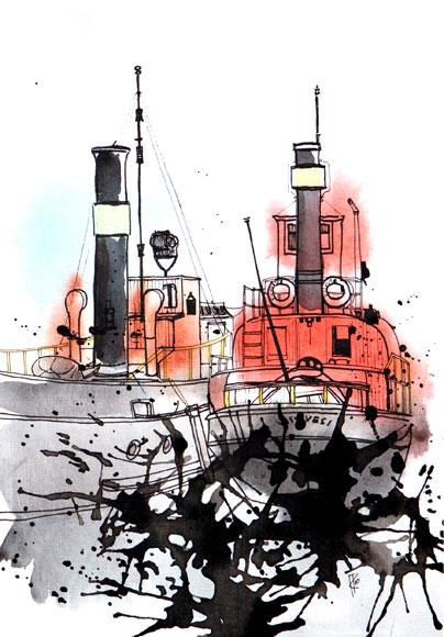 2010, pen & ink, watercolours